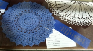 And my favorite: my knitter friend won a blue ribbon for her gorgeous doily!